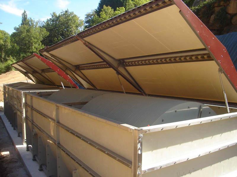 Détail de l'installation de la filière de traitement par biodisques à Viala du tarn