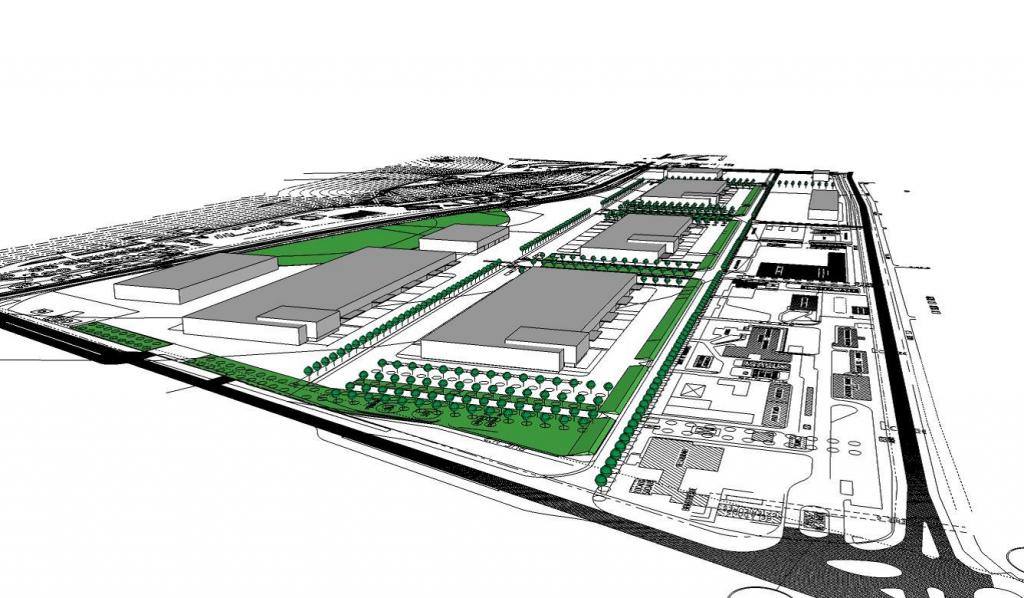 Dessin du plan d'aménagement du site de l'ancienne raffinerie Petroplus
