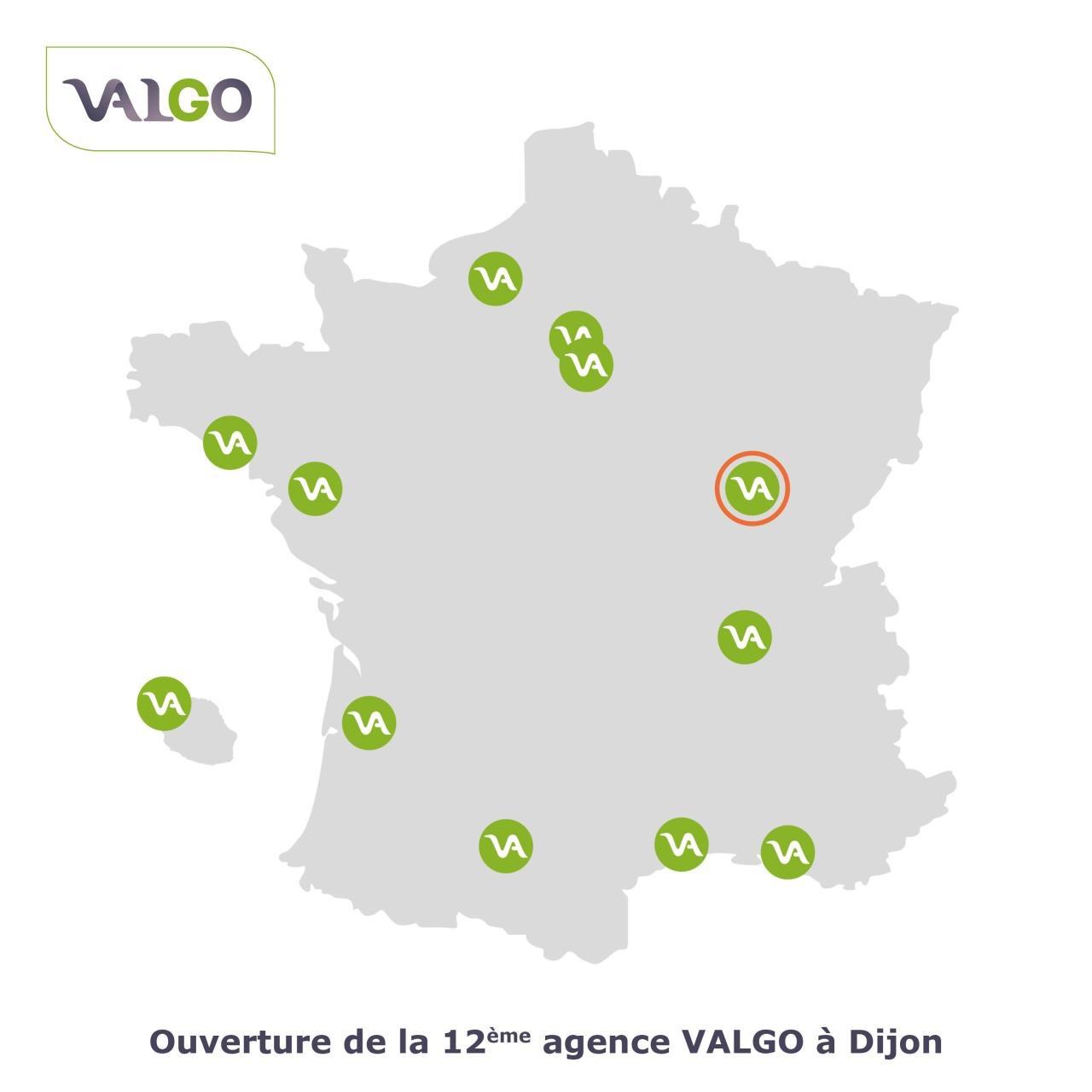 Carte de France avec les différents implantation de l'entreprise de dépollution VALGO